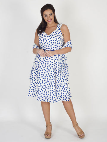 Michaela Louisa White and Blue Spot Dress