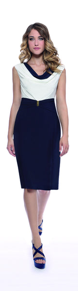 Michaela Louisa White and Navy Cowl Neck Jersey Dress