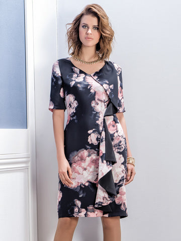 Michaela Louisa Pink/Navy Printed Frill Front Dress