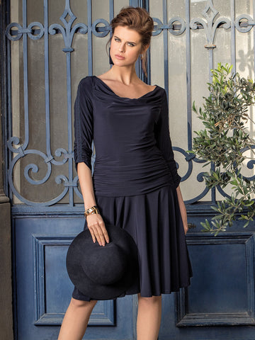 Michaela Louisa Dark Navy Jersey Dress With Cowl Neck