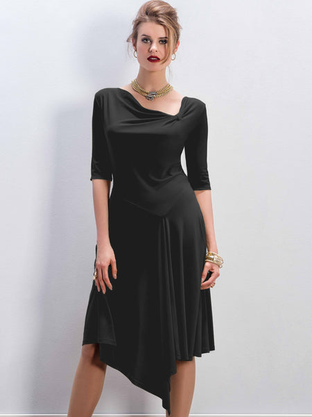 Michaela Louisa Black Jersey Dress With Asymmetric Neck And Hemline - Pre-Order Early September