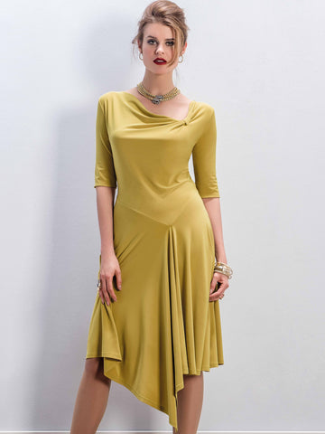 Michaela Louisa Ochre Jersey Dress With Asymmetric Neck And Hemline