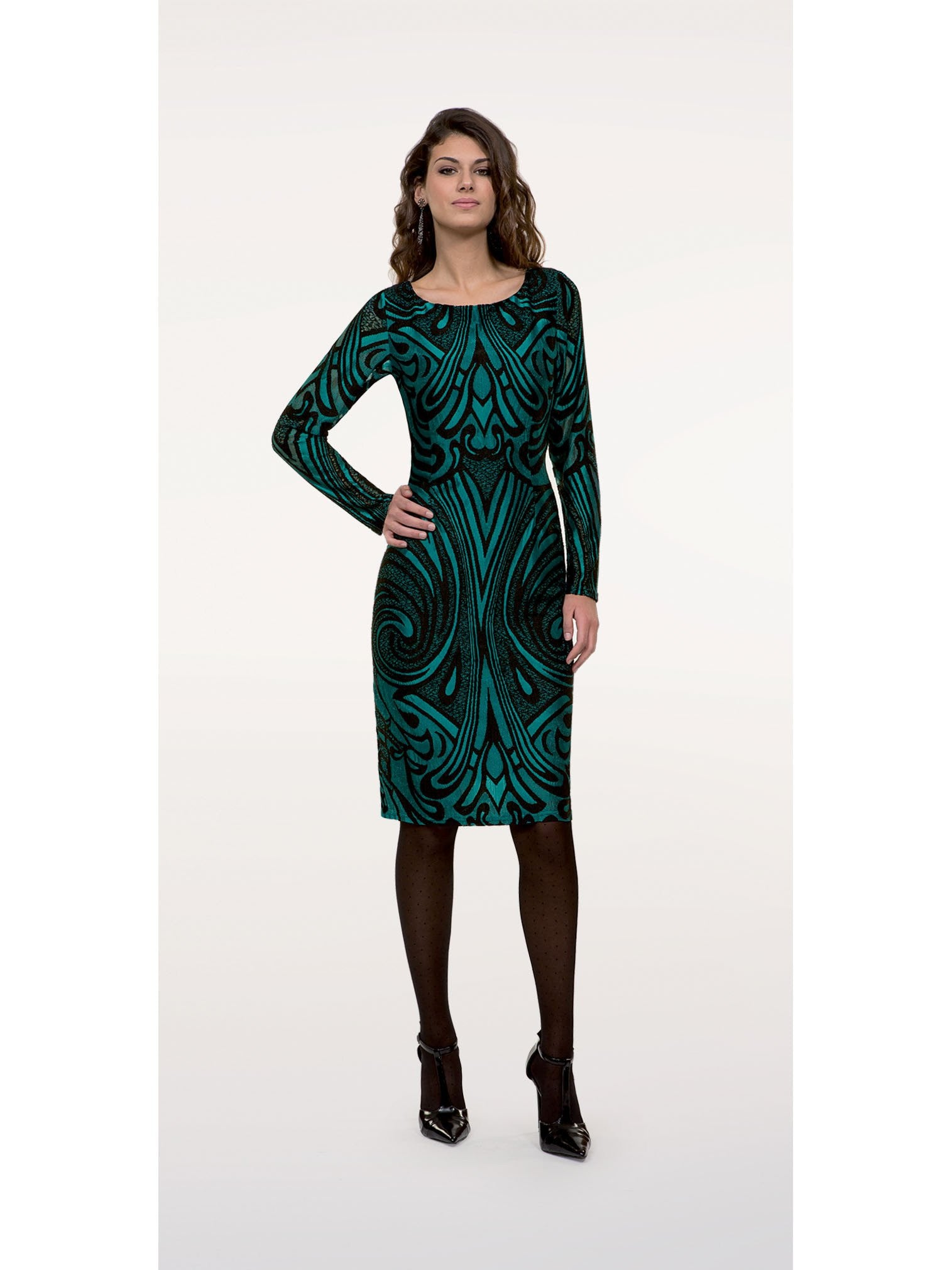 Michaela Louisa Art Deco Stretch Print Dress