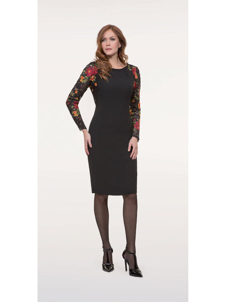 Michaela Louisa Black Embroidered Sleeve Dress