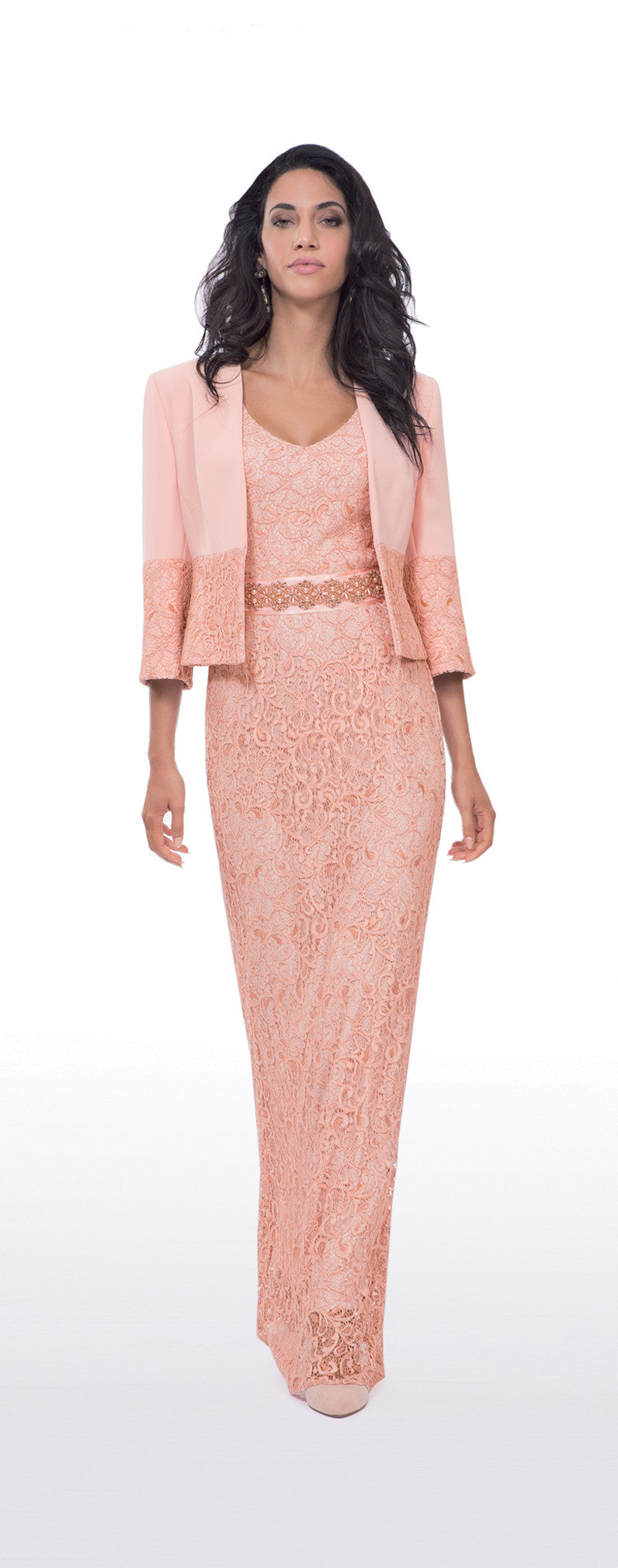Michaela Louisa Blush Pink Crepe and Lace Trim Jacket
