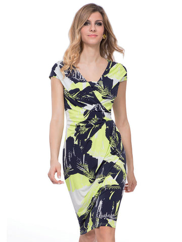 Michaela Louisa Navy Leaf Print Dress