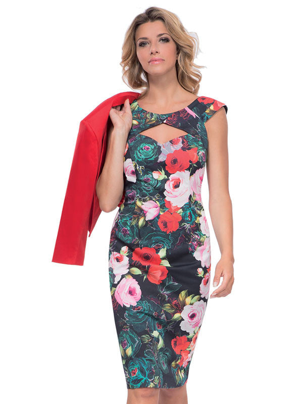 Michaela Louisa Black Floral Print Dress