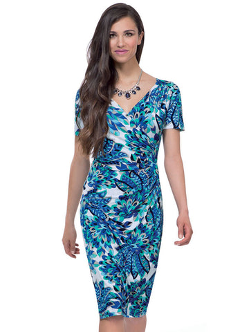 Michaela Louisa Blue Print Wrap Dress