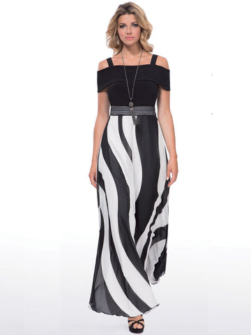 Michaela Louisa Black Print Maxi Dress