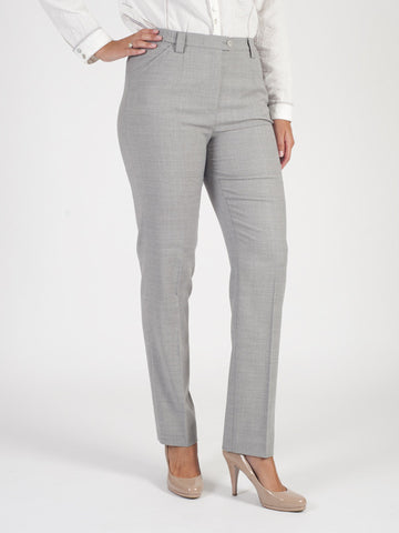 Michele Light Grey Classic Flannel Slim Leg Trouser Regular
