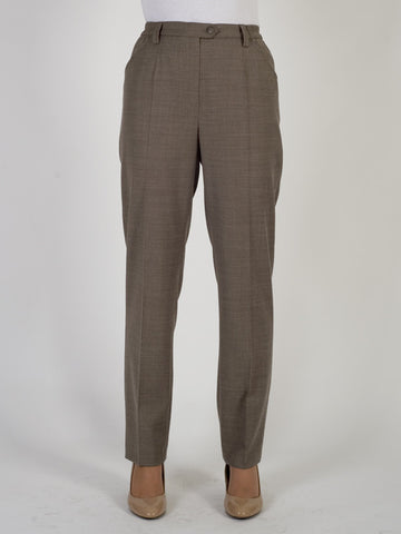 Michele Taupe Classic Flannel Slim Leg Trouser Shorter