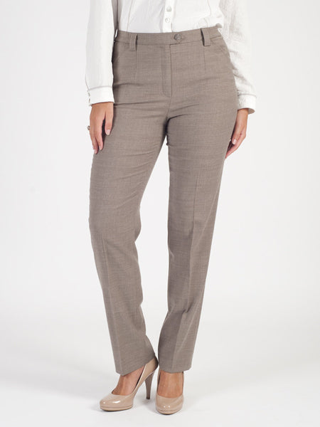 Michele Taupe Classic Flannel Slim Leg Trouser Regular