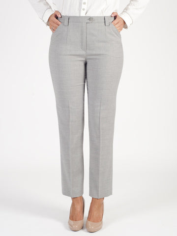 Michele Light Grey Classic Flannel Slim Leg Trouser Shorter