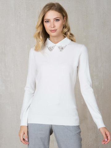 Passioni Ecru Jumper With Detachable Emberlished Collar
