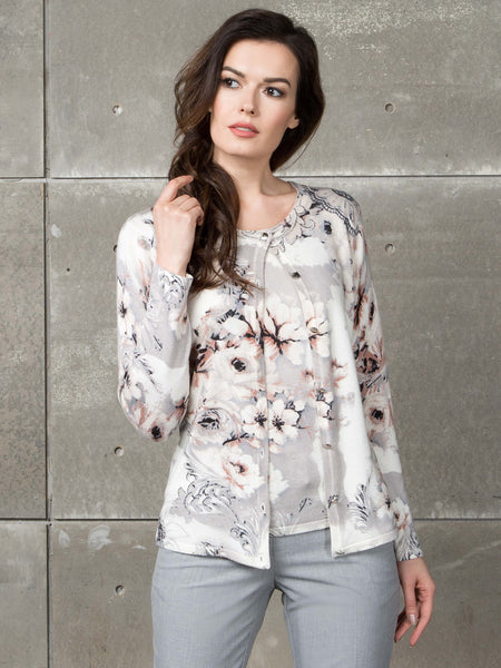 Passioni Ivory/Pink Baroque Floral Twinset
