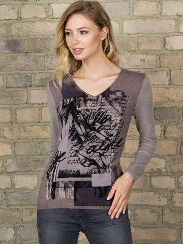 Passioni Taupe V-Neck Jumper With Printed Front