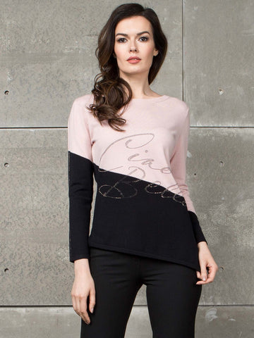 Passioni Ciao Bella Embellished Two Tone Jumper