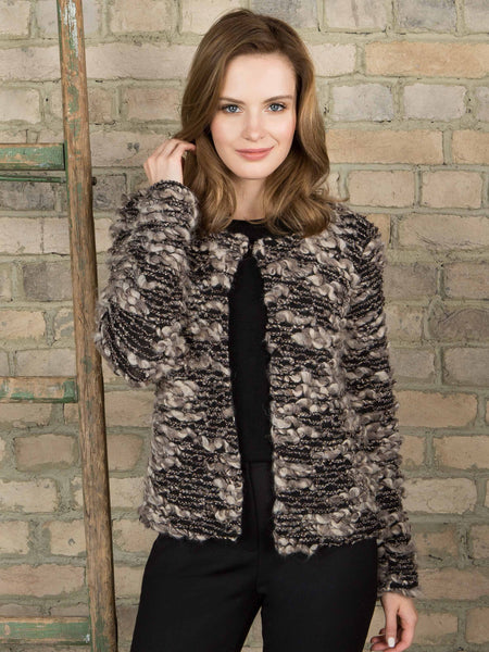 Passioni Brown/Multi Textured Knit Edge To Edge Cardigan
