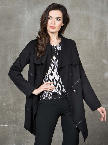 Passioni Black Long Line Cardigan With Zip Details