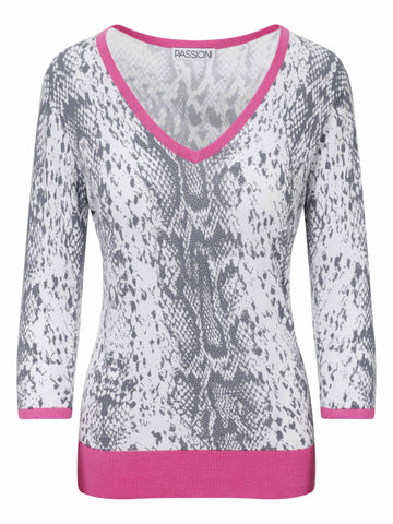 Passioni Pink Animal Printed V-neck Jumper