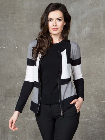 Passioni Ecru/Black/Grey Colour Block Cardigan With Zip Fastening