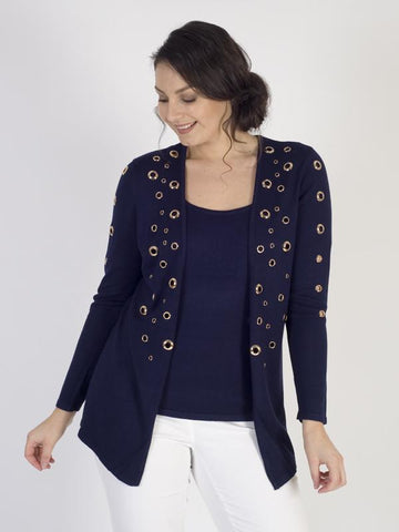 Passioni Navy Knit Twinset with Gold Eyelets