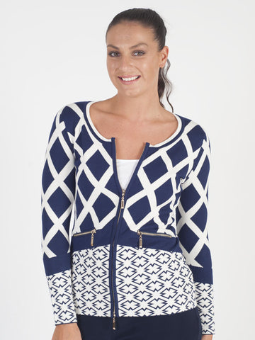 Passioni Navy Abstract Print Cardigan