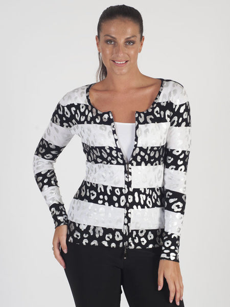 SPECIAL OFFER Passioni Black And White Animal Print Cardigan