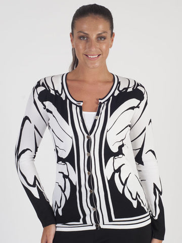 Passioni Black Butterfly Print Cardigan