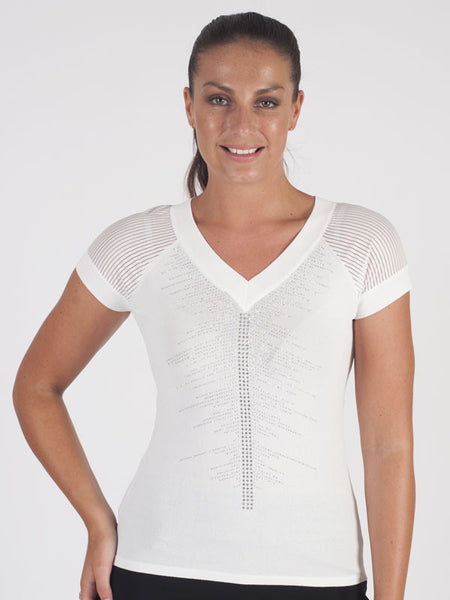 Passioni Ivory Knitted T-Shirt