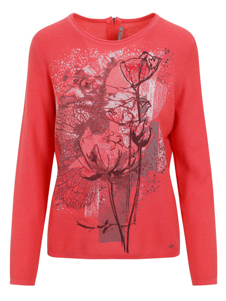Rabe Coral Front Printed and Zip Back neckline Jumper