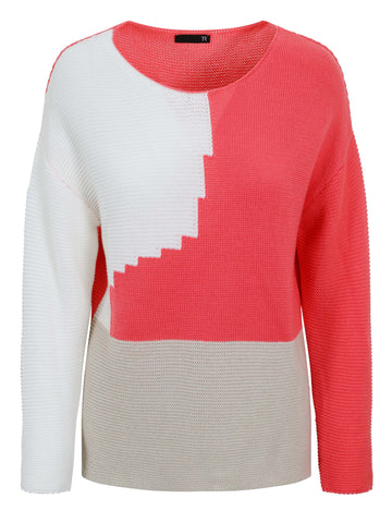 Rabe Coral/Cream Colour Block Ribbed Knit Jumper