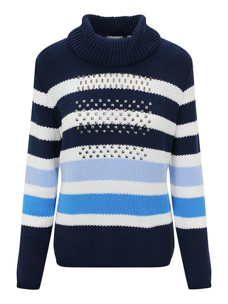 Rabe Navy/White Roll Neck Striped Stud Detail jumper