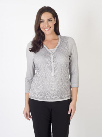 Rabe Grey Lace Print 2-in-1 Jersey Top