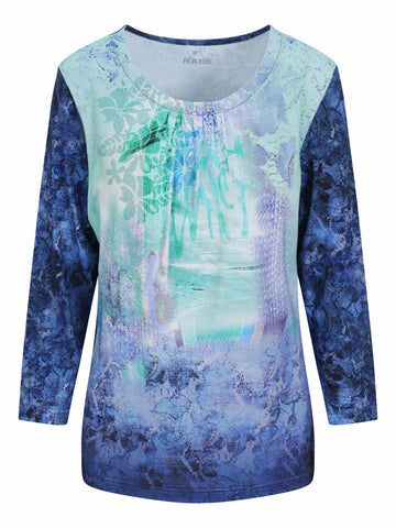 Rabe Aqua/Green Printed ¾ Sleeve Top