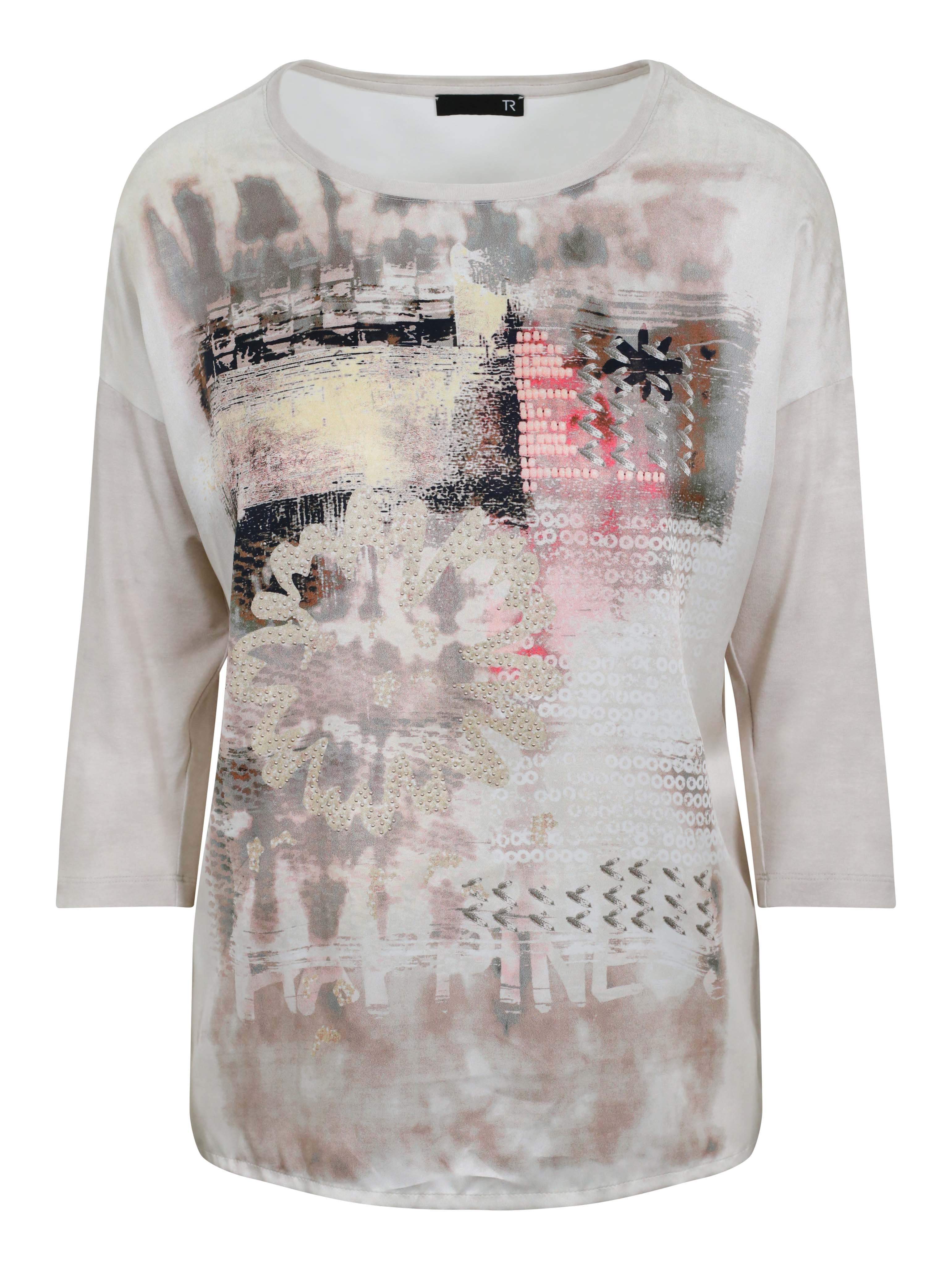 Rabe Beige/Coral Front Printed ¾ Sleeve Jersey Top