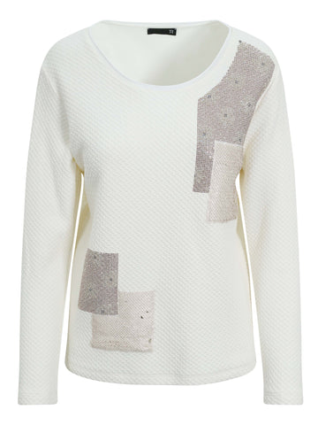 Rabe Cream Sequin Jersey Top