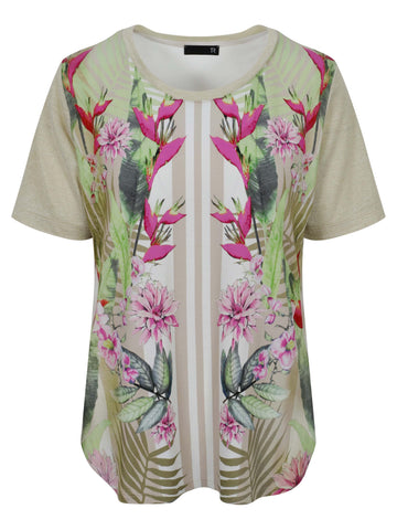 Rabe Beige/Fuchsia/Lime Tropical Print Jersey T-shirt