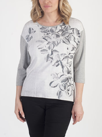 RABE Floral-front Jersey Top