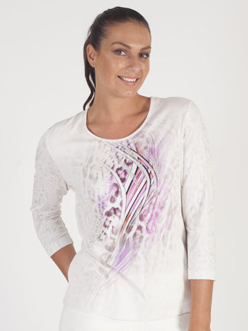 Rabe Ivory Print Jersey Top