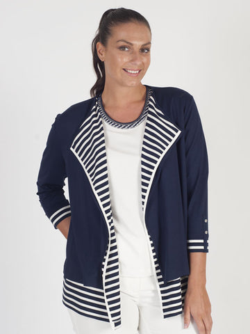 Rabe Navy Double Layered Waterfall Cardigan