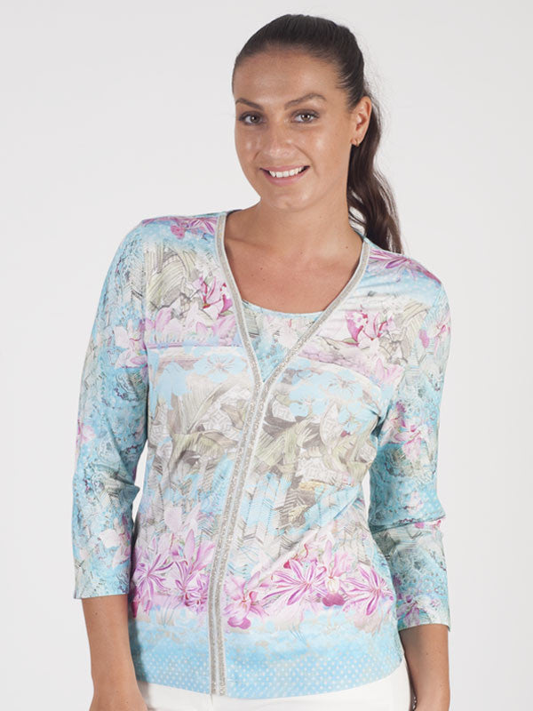 Rabe Tropical Jersey Print Top