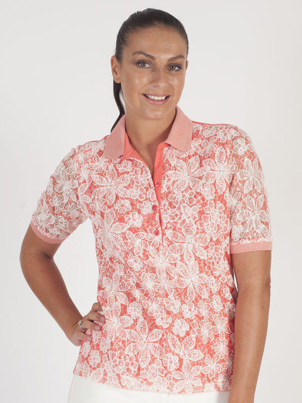 Rabe Coral Lace Polo Top