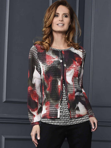 FRANK WALDER Layered Print Top