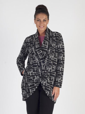 Black Melange Printed Single Button Jacket