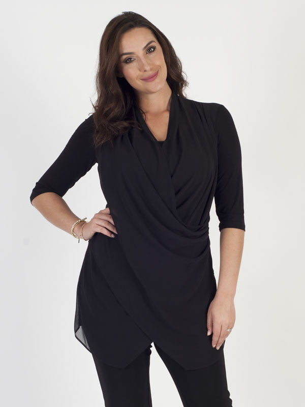 Ronen Chen Black Crossover Front ¾ Sleeve Tunic
