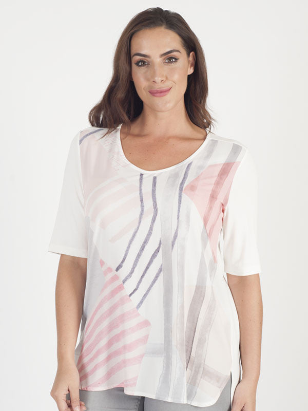 Chesca Direct Samoon Ivory Jersey Print T-Shirt