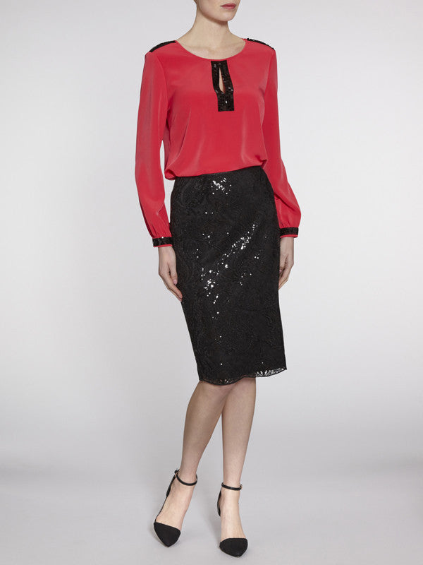 Gina Bacconi Black Baroque sequin mesh lined skirt