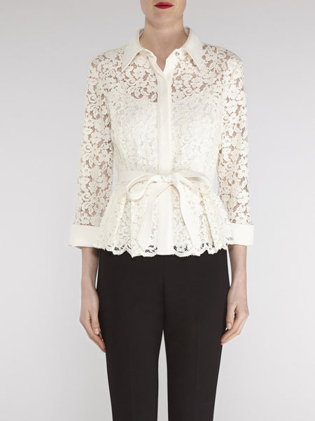 Gina Bacconi Chalk Lace blouse with contrast trim and belt