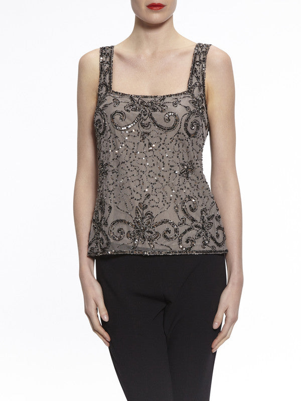 Gina Bacconi Pewter Bead and Sequin Cami